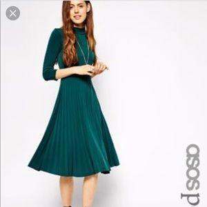 ASOS BLACK pleated Mock neck dress XS
